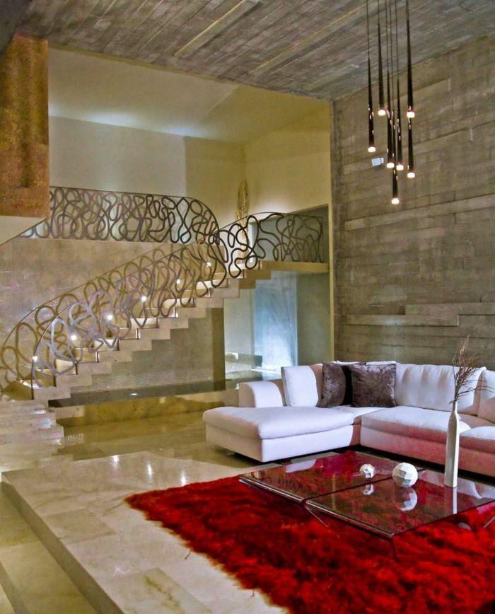 Treppenbeleuchtung Treppengelnder Roter Teppich Wohnzimmer Farbkontrast