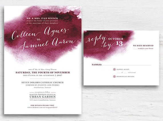 Burgundy Watercolor Wedding Invitation Set Printable Maroon