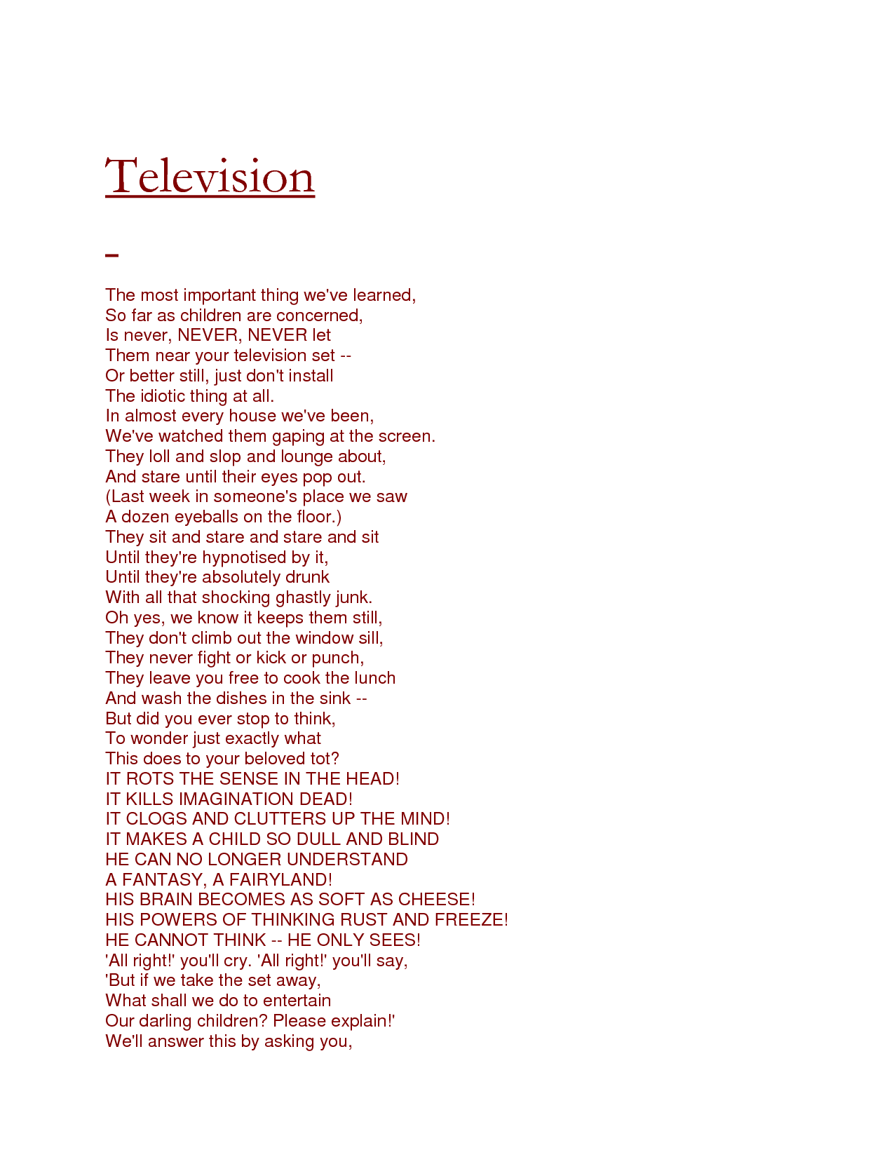 Poems By Roald Dahl Television