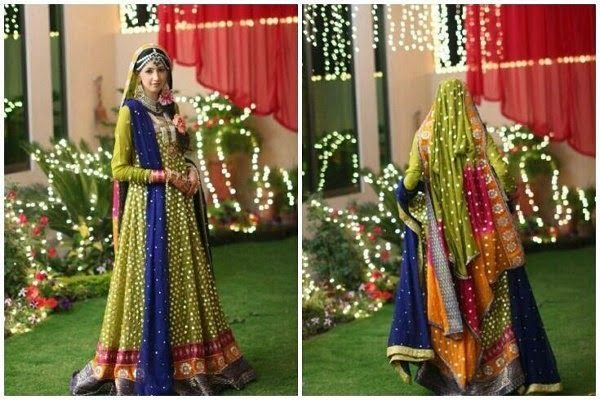 Mehndi Function Dresses 2015 : Pakistani brides like to wear mehndi dresses in multi shades
