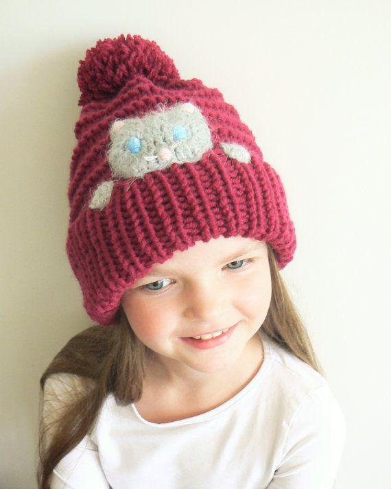 CAT Hat Kitty sombrero del Knit del sombrero del invierno | Gorro ...