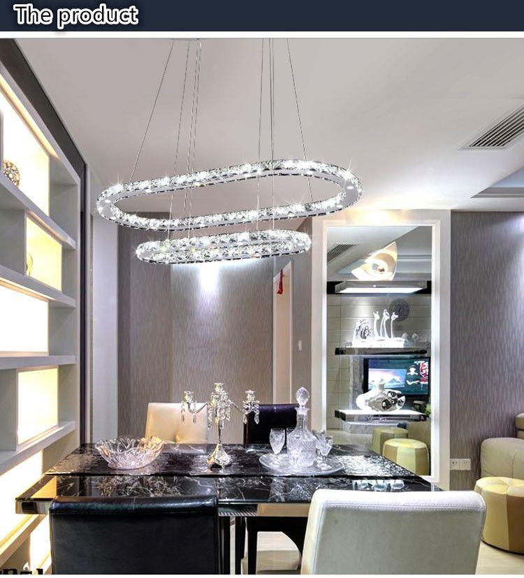 Led K9 Crystal Oval Ring Lustre Dining Room Suspended Chandelier