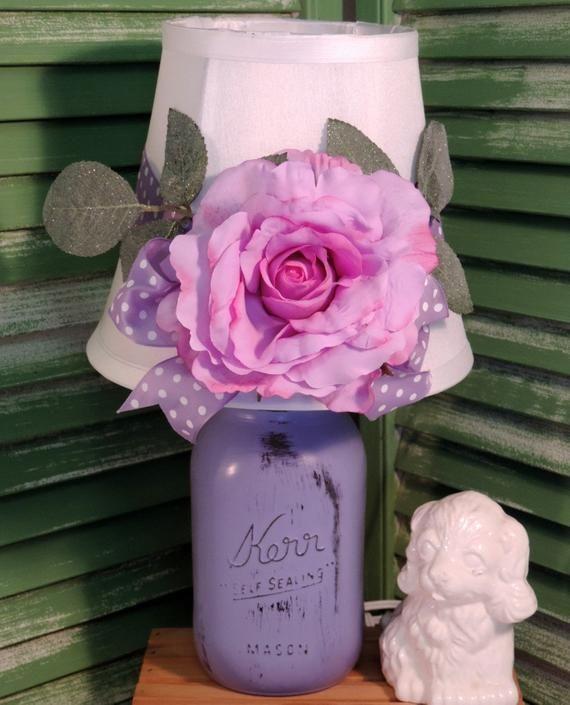 Whimsical Purple Mason Jar Lamp Shabby Chic Lamp Girl S