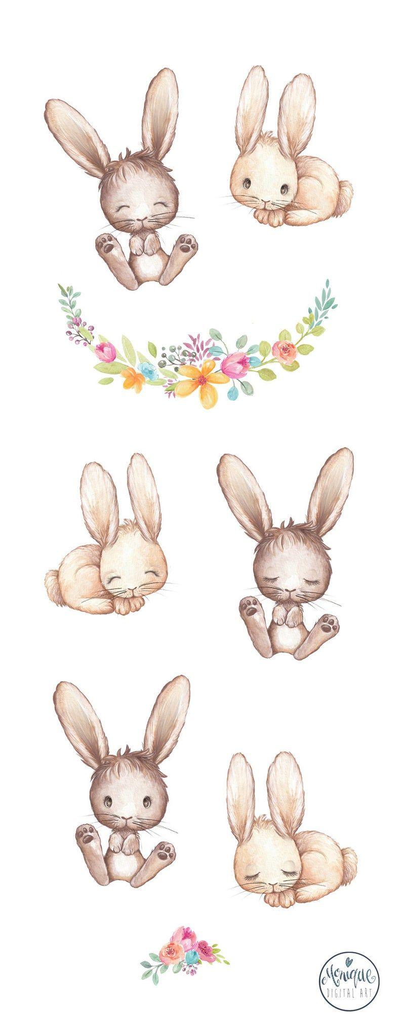 rabbit clipart watercolor, Spring clipart bunnies, bunny ...