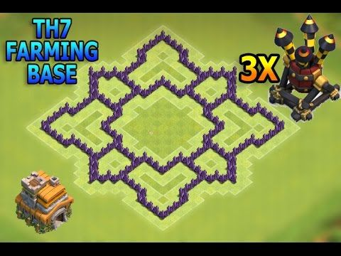 Coc New Best Town Hall 7 Th7 Farming Hybrid Base With 3 Air Defenses New Update 2016 Youtube Town Hall Defense Coc