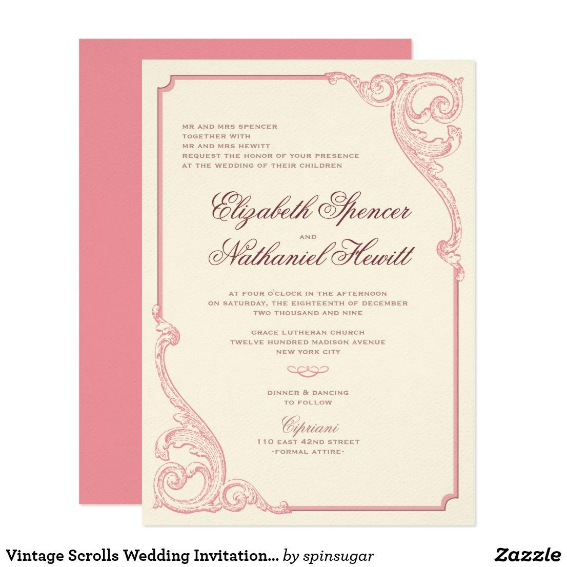 Vintage Scrolls Wedding Invitation in Dusty Rose | Wedding Ideas ...