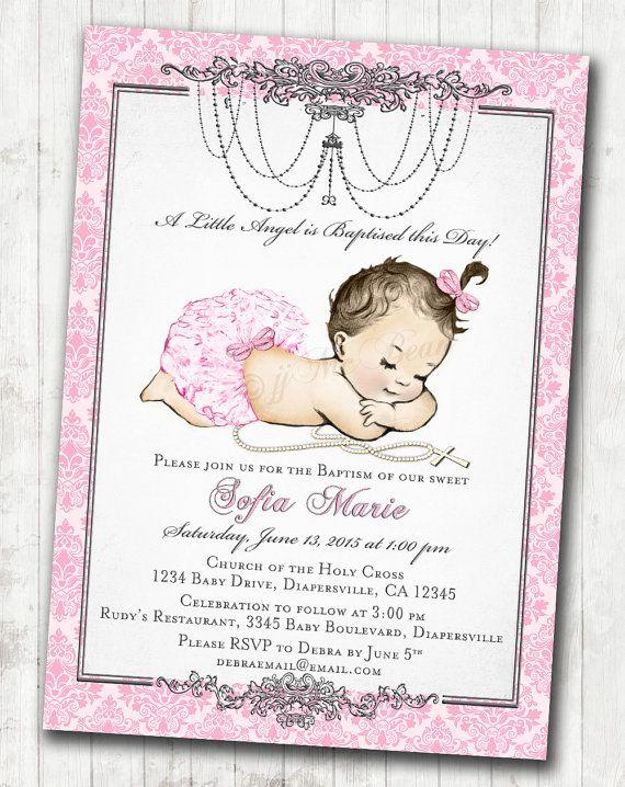 Baptism Invitation for girl Vintage Baptism Invitation For Girl
