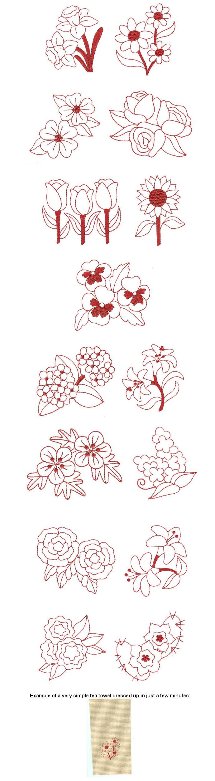 Embroidery machine embroidery designs beautiful blossoms redwork