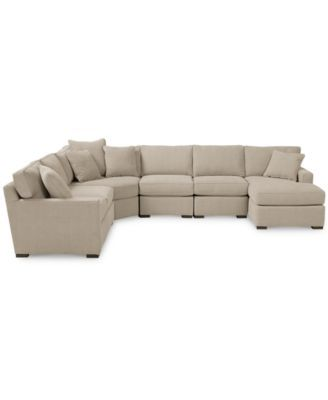 radley fabric 6piece chaise sectional sofa