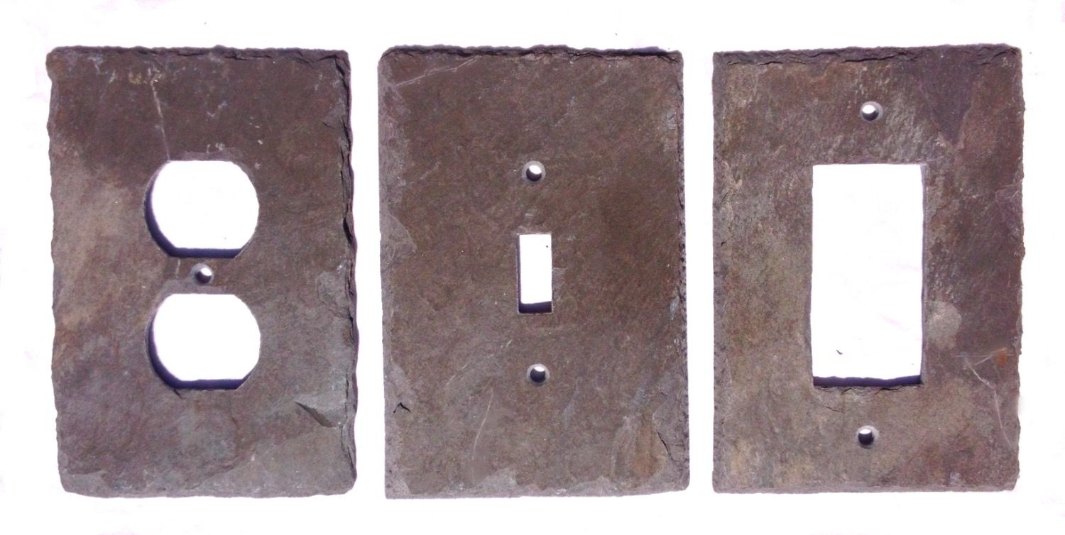 Decorative Light Switch Wall Plates Custom Slate Wall Plates Vermont Slate Plates Rustic Light Switch Cover Decorating Design
