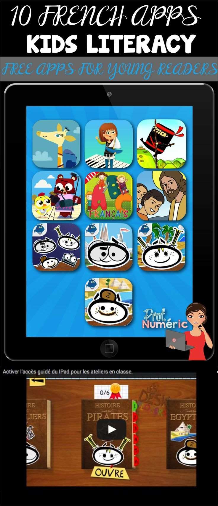 10 FRENCH APPS-Kids Literacy//Freee Apps for young readers. 10 Applications gratuites pour les jeunes lecteurs dbutantes.