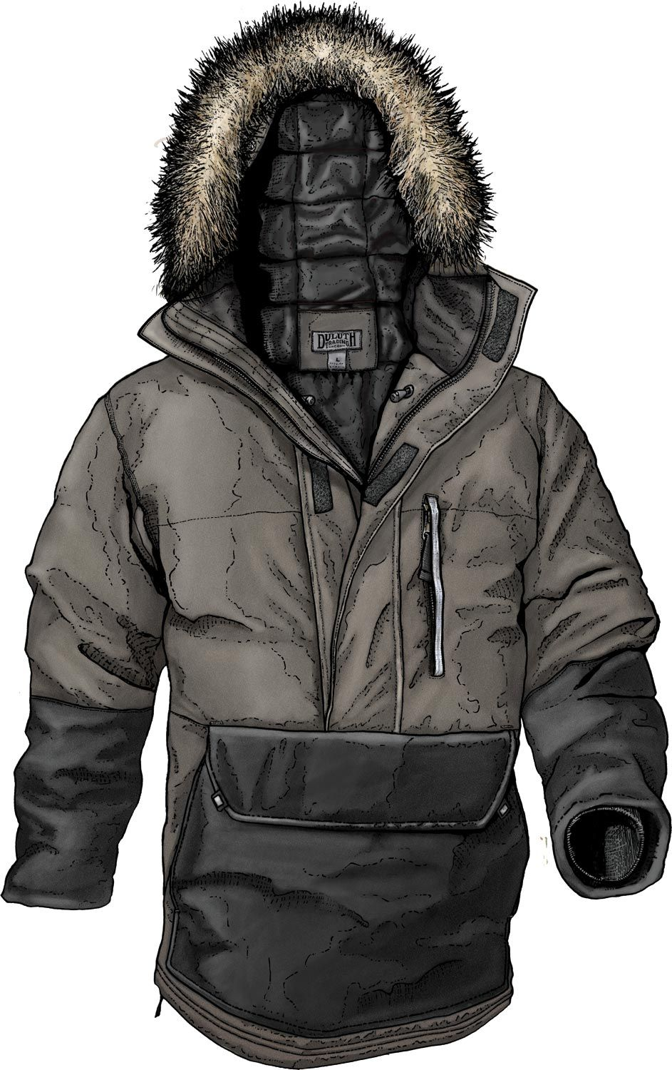 Men's Manorak Anorak Jacket from Duluth Trading Company is packed with 650-fill-power down for warmth to -30˚F. Windproof 4.3-oz nylon resists abrasion better than cotton duck with a water-resistant finish. Plus Armpit Gussets for mobility to outrun