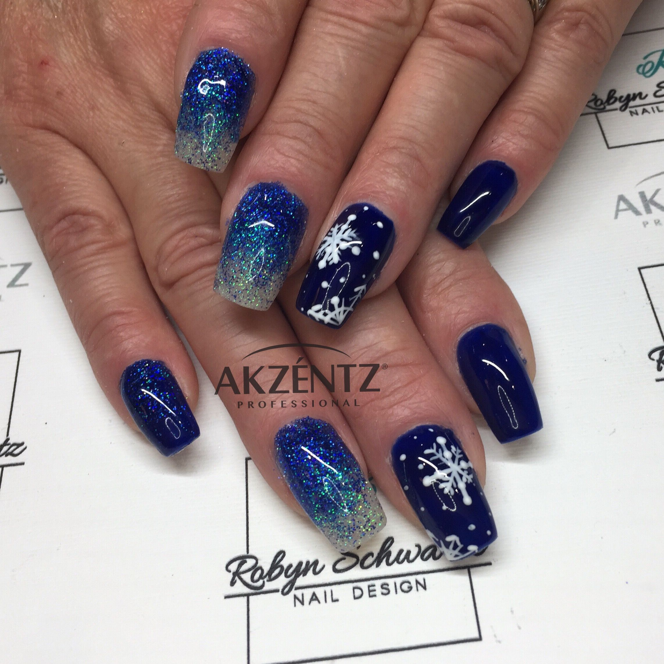 Snowflakes and pretty winter blues, gel nails   Nails   Pinterest ...