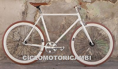Bicicletta Single Speed Scatto Fisso Fixed Bici Bike Pista Bianca