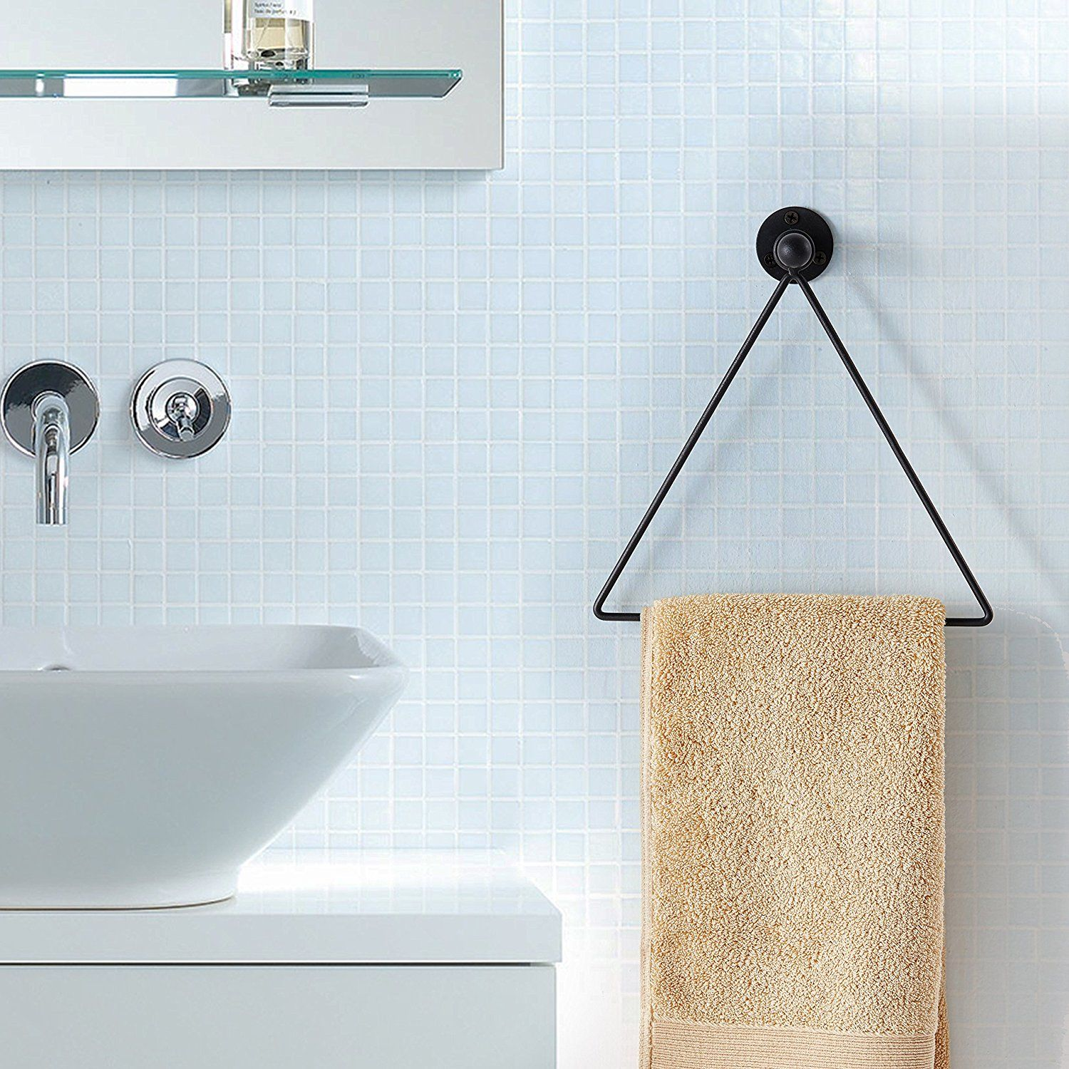 Not Your Ordinary Towel Ring Modern Wall Mounted Triangle Metal Bathroom Kitchen Hand Towel Bar Rack Black G Kitchen Hand Towels Towel Bar Bathroom Makeover