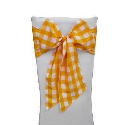 August Grove Huertas Checkered Chair Bow Color White Dark Yellow Chair Bows Tablecloth Fabric Chair Sashes