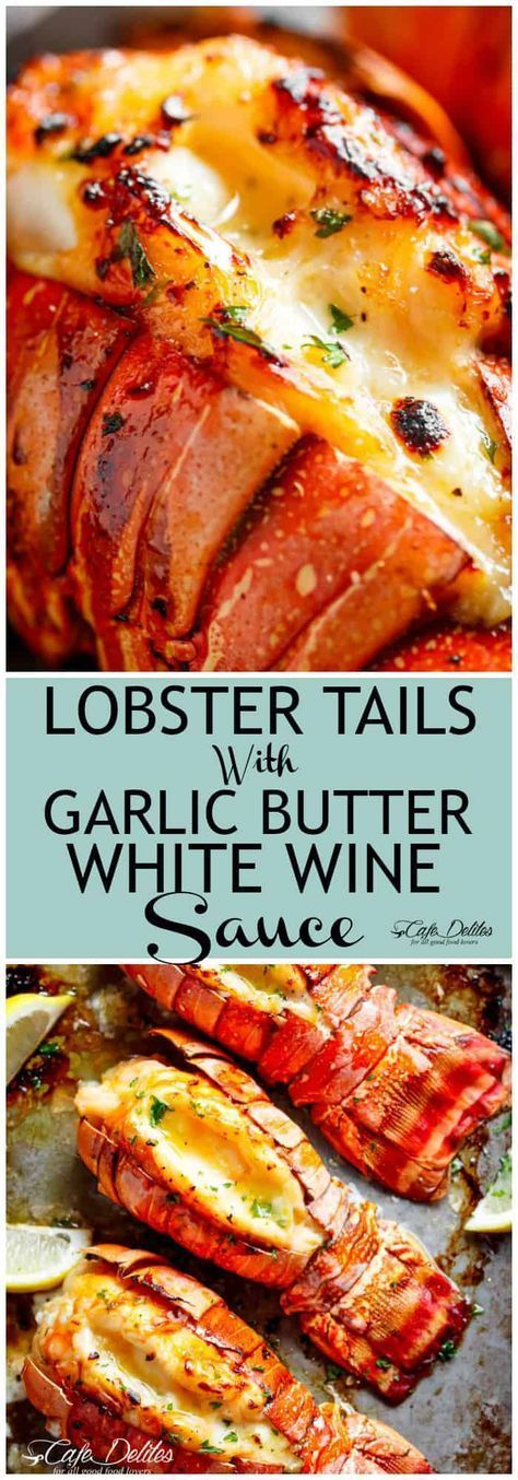 Broiled Lobster Tails with Honey Garlic Butter White Wine Sauce is a fancy, classy and best of all EASY to make recipe. Ready in under 20 minutes, let the oven do all the cooking for you! Full of flavour, there's no need to go to a restaurant for chef-tasting, slightly charred lobster tails! #lobstertail