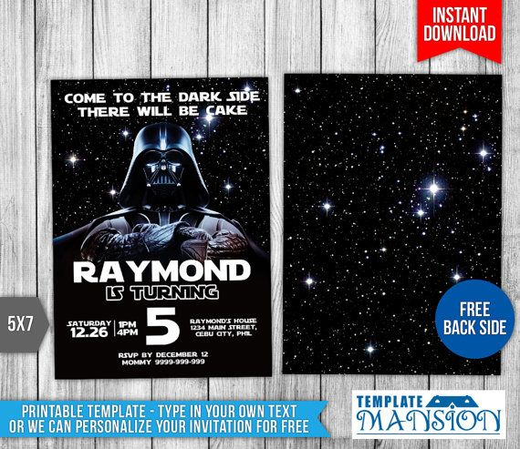 This instant download is for a star wars birthday invitation you this instant download is for a star wars birthday invitation you have 2 filmwisefo Choice Image