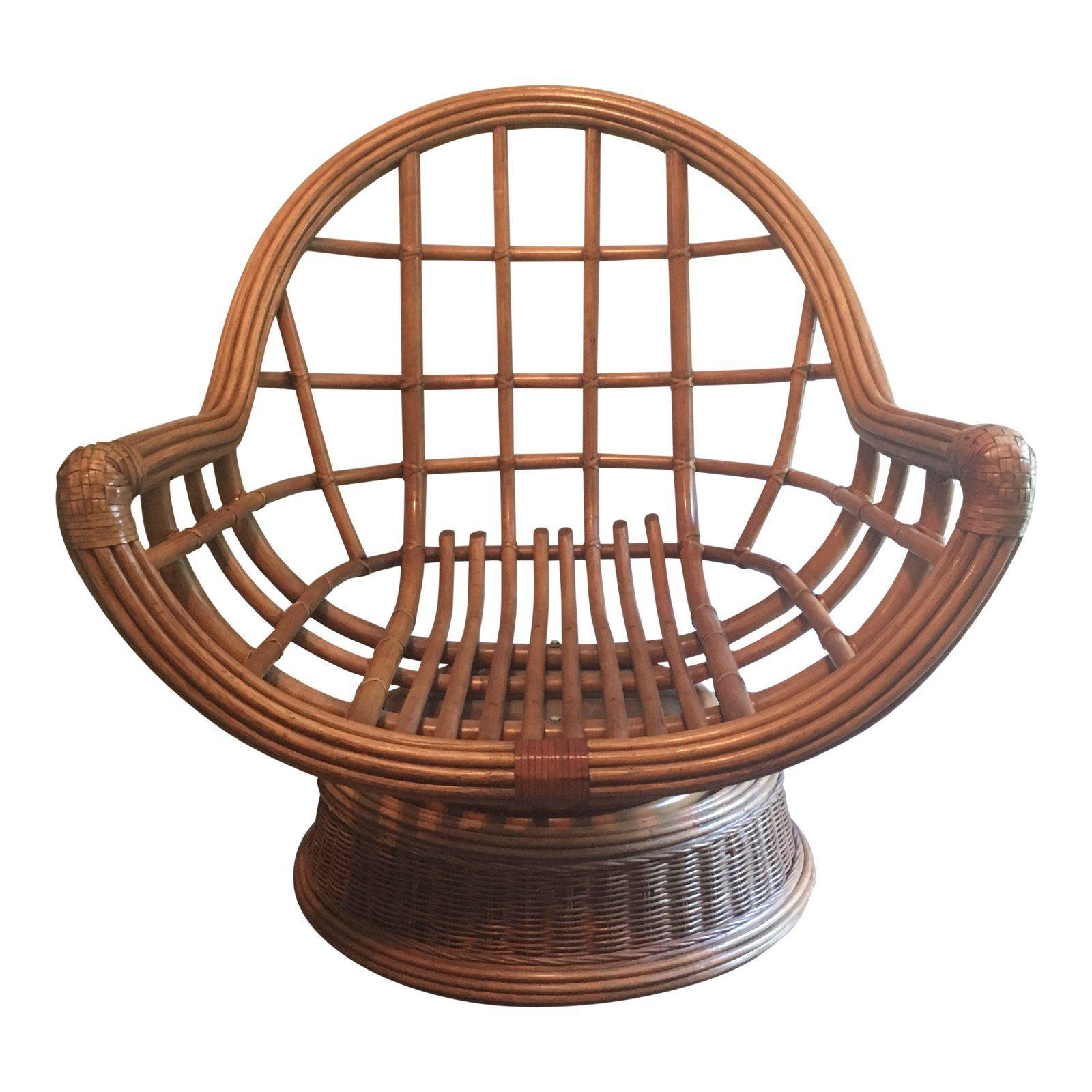 Mid Century Modern Rattan Swivel Chair Image 1 Of 8 Chair Rocking Chair Wicker Chair