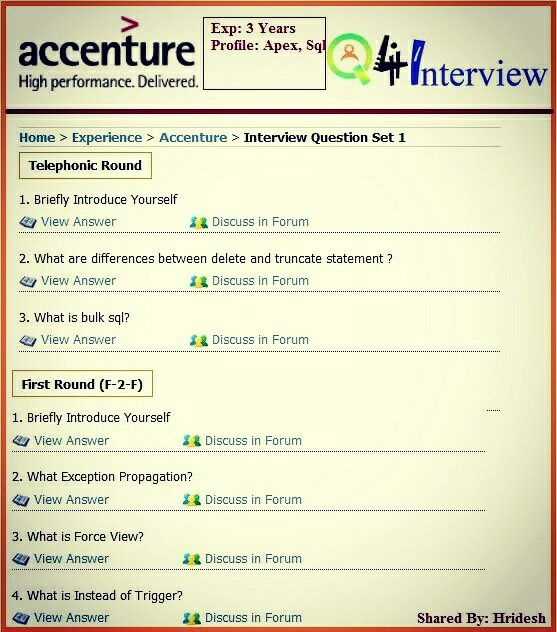 PlSql Interview Questions Asked In Accenture At  Years