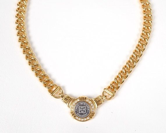 Authentic Vintage Givenchy Necklace Gold Tone Metal Short Link Curb Chain With Rhinestones Par Vintage Givenchy Necklace Vintage Givenchy Givenchy Necklace