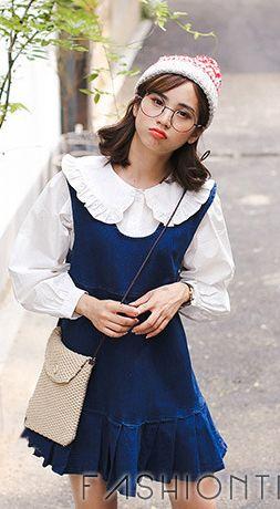 Fashiontroy Cute & sweet sleeveless crew neck blue navy blue pleated denim mini dress