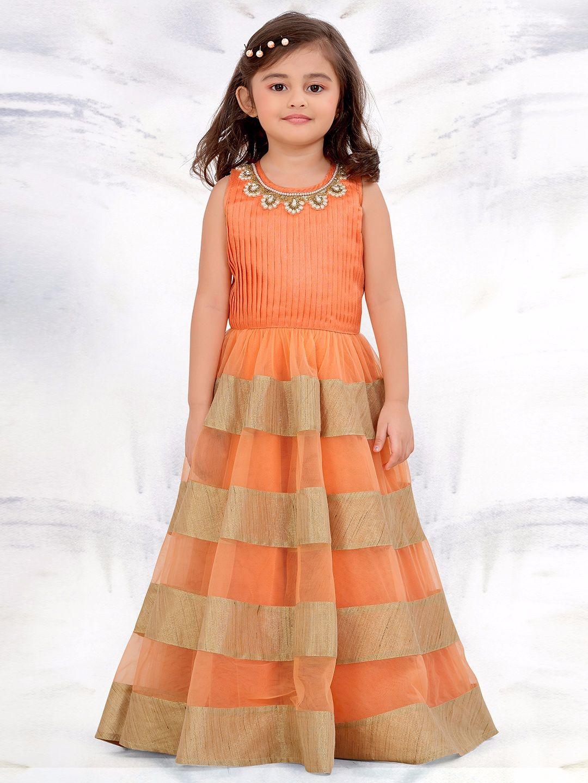 Shop g exclusive party wear net orange gown online from gfashion