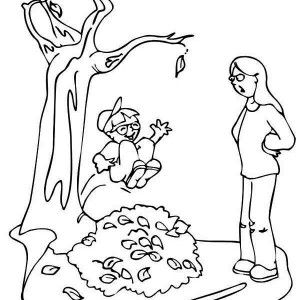 Autumn Kid Jumping To Pile Of Leaf Coloring Page
