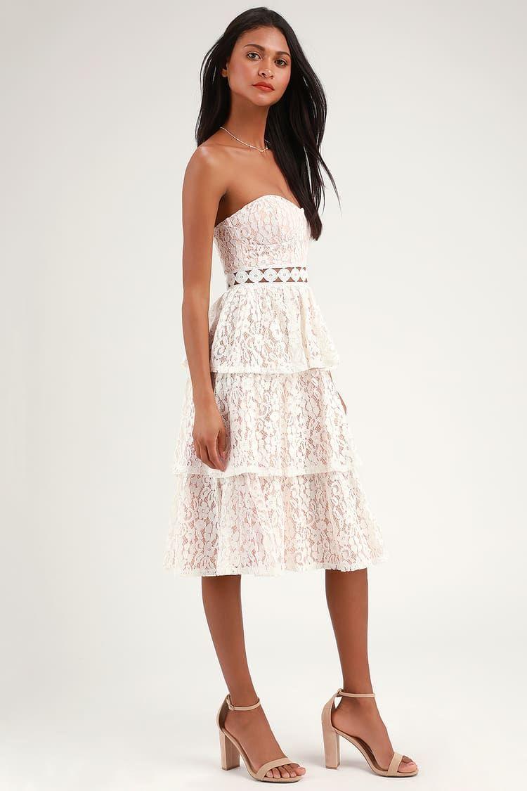 Adorn White Lace Strapless Midi Dress Brautkleid Kleider Braut [ 1125 x 750 Pixel ]