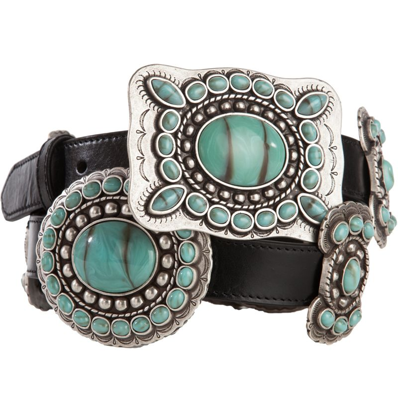 Womens Black Leather 3 D Turquoise Conchos Belt In 2019