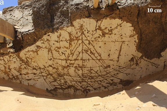 One of the 120 incised boat images found in the 3,800-year-old structure. The sail on this boat is unfurled.