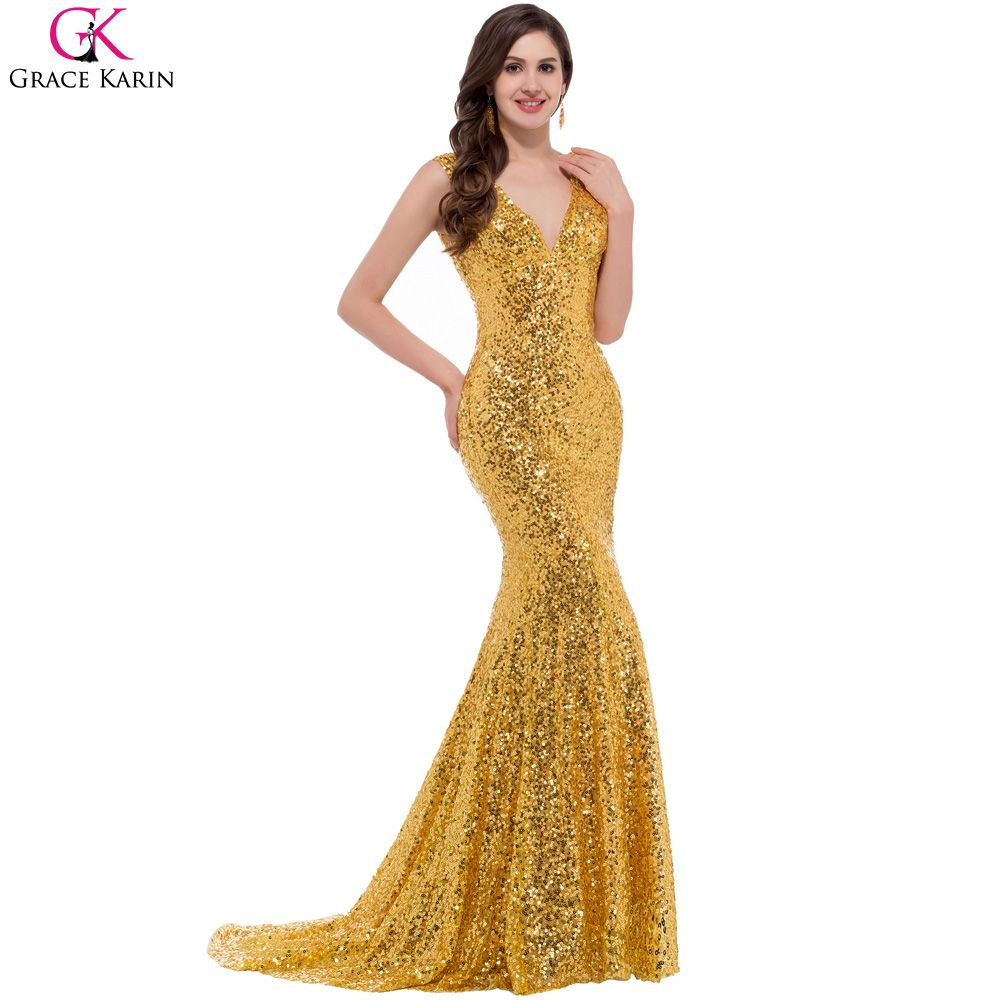 Grace Karin 2017 Gold Mermaid Dress Luxury Sequin Red Formal Long ...