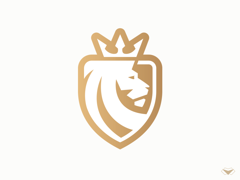 Lion King Logo By Visual Curve Business Corporate Crown Emperor Gold Heraldry Protector Royal Security Shield
