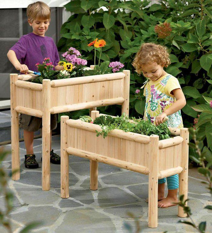 Dekoartikel garten  Pflanzkasten aus Holz - Schöne Pflanzenbehälter als Dekoartikel ...