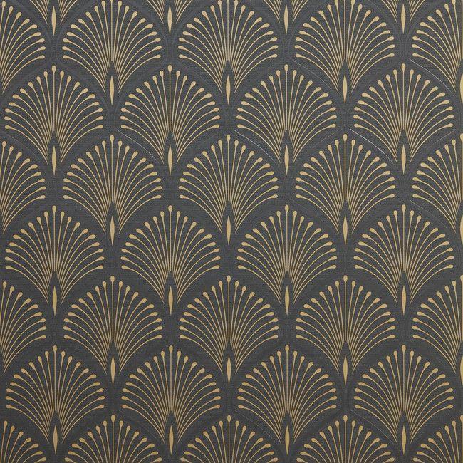 Tapeta Winylowa Na Flizelinie Goodhome Echium Czarna In 2020 Art Deco Design Art Deco Wallpaper Art Deco