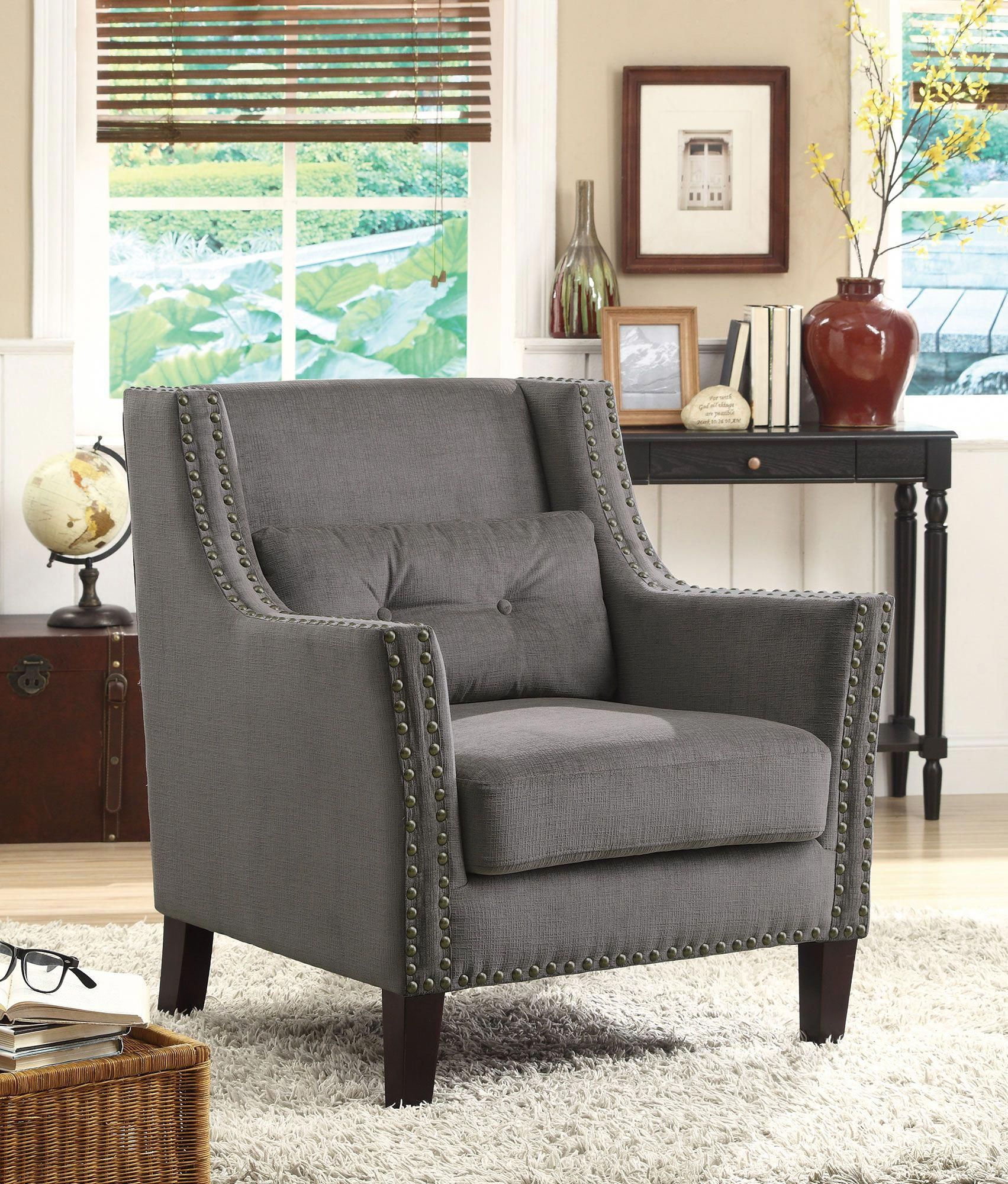 fabric accent chairs living room gray yellow and turquoise coaster kalia 902170 grey chair brownaccentchair