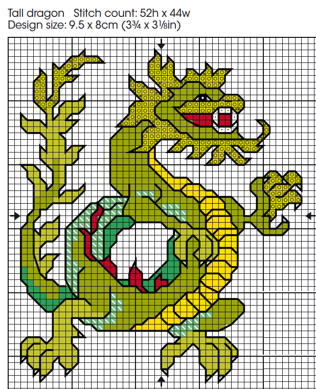 free cross stitch chart dragon card
