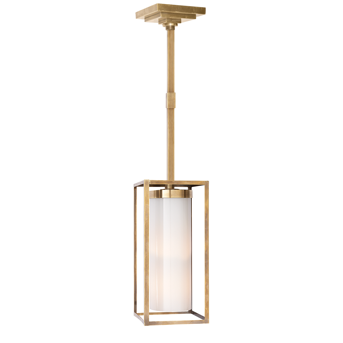 Easterly large pendant in polished nickel with white glass w in