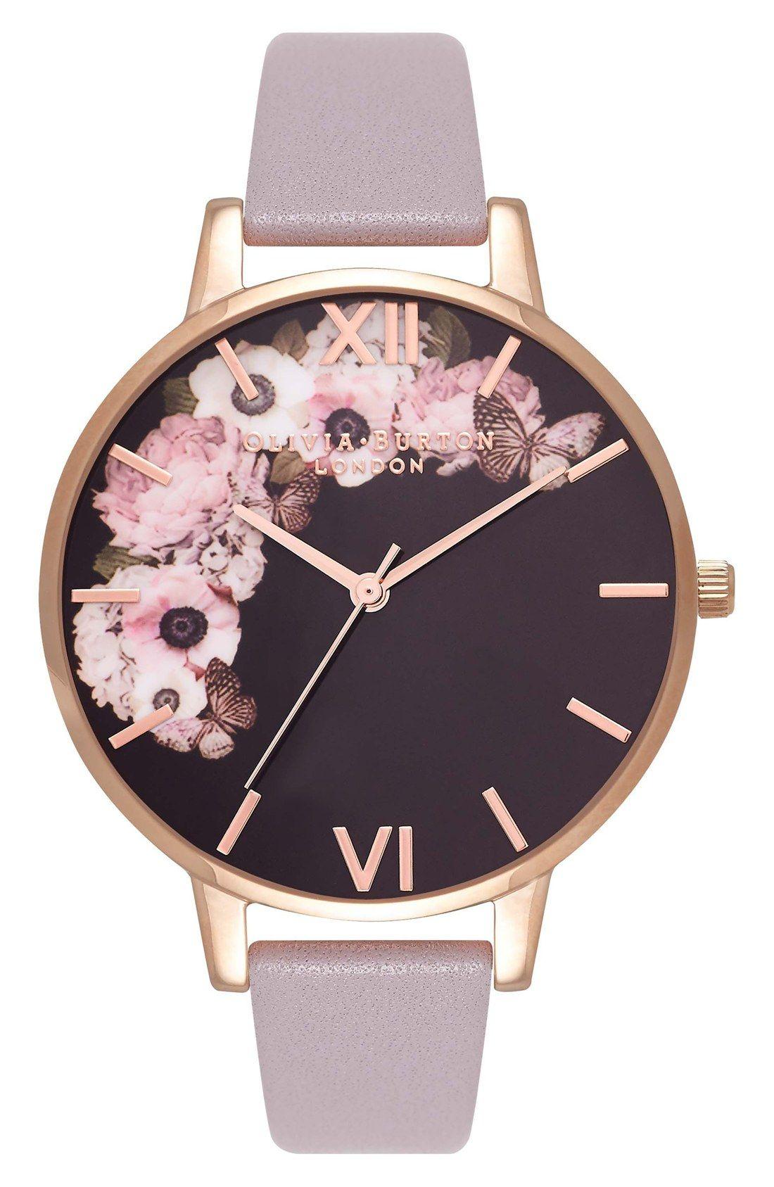 Olivia Burton Winter Garden Leather Strap Watch 13fe437073f6