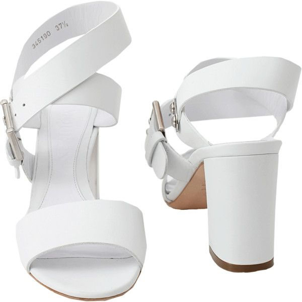 Alexander Mcqueen White Block Heel Wide Strap Sandal (3.710 ARS) ❤ liked on Polyvore featuring shoes, sandals, heels, white shoes, white sandals, strap sandals, heeled sandals, white strap sandals and block heel shoes