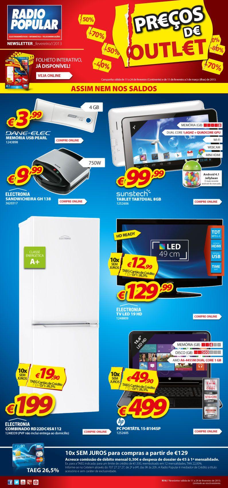 Newsletter -  Assunto: Preços de Outlet.  http://www.radiopopular.pt/newsletter/2013/16/