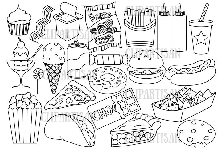 Junk Food Clip Art Fast Food Clipart Digital Stamp 442895 Illustrations Design Bundles Food Clipart Junk Food Food Clips