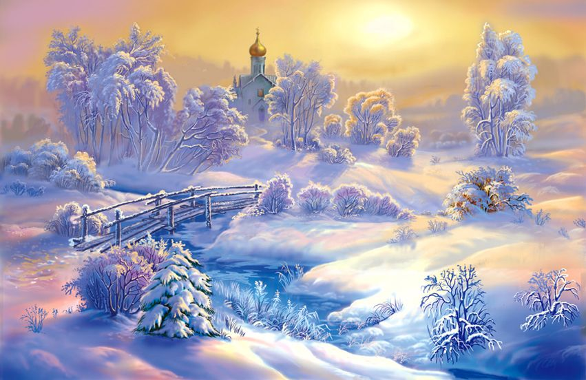 Зимний пейзаж открытки картинки, оформить открытку