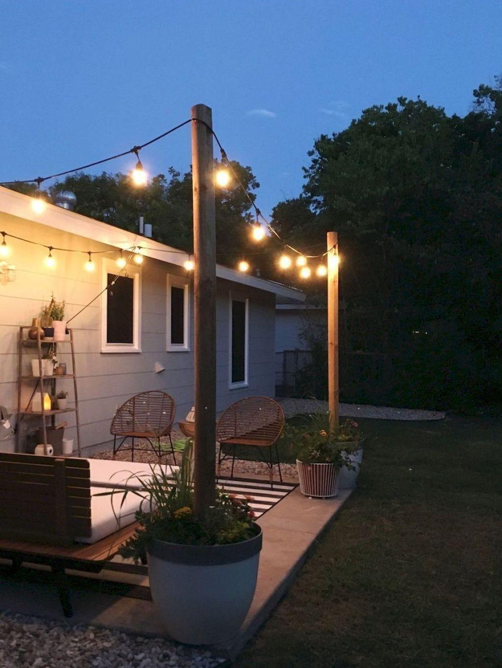 Popular Backyard Lighting Ideas Makes It Look Beautiful Patio Makeover Backyard Patio Patio Seating Area