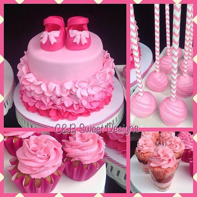 Fifty Shades Of Pink Baby Shower Themed Cake Decorative Cupcakes