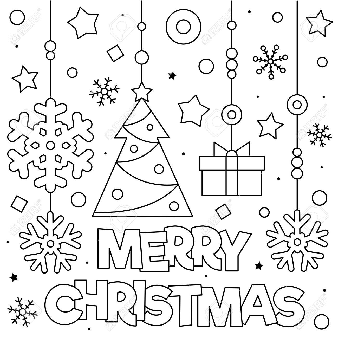 Merry Christmas Coloring Page Black And White Vector Illustration Illustrat Christmas Coloring Sheets Merry Christmas Coloring Pages Christmas Coloring Pages