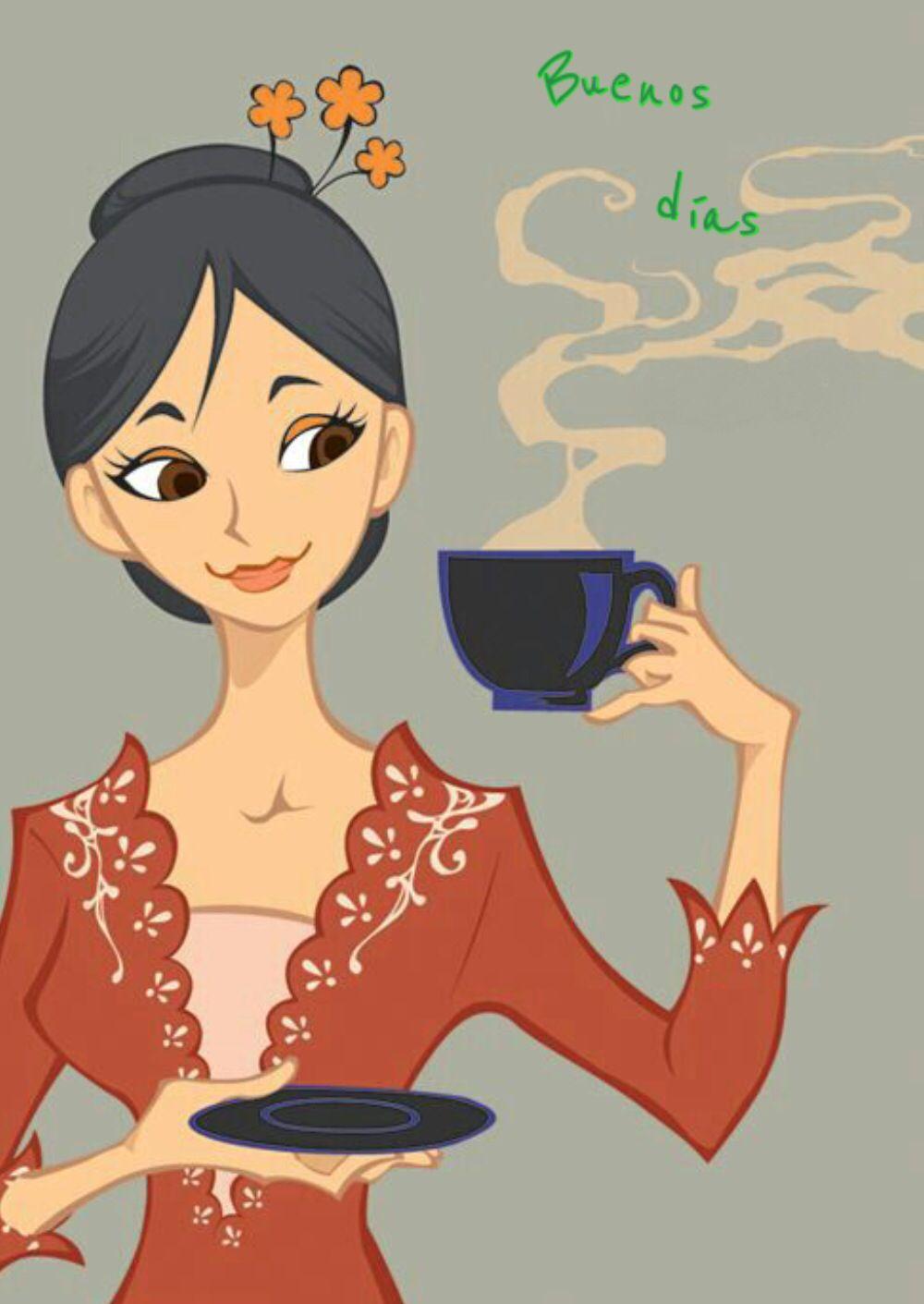 Buenos Dias Ilustracion De Cafe Bebiendo Cafe Ilustraciones