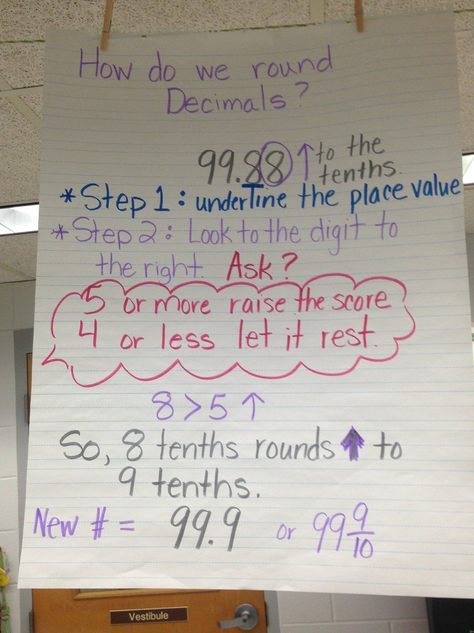 anchor charts for rounding decimals    2018-2019 classroom