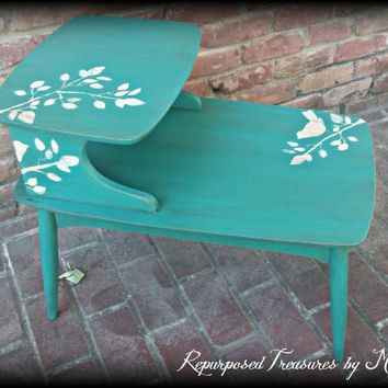shabby chic end table distressed turquoise side table stenciled