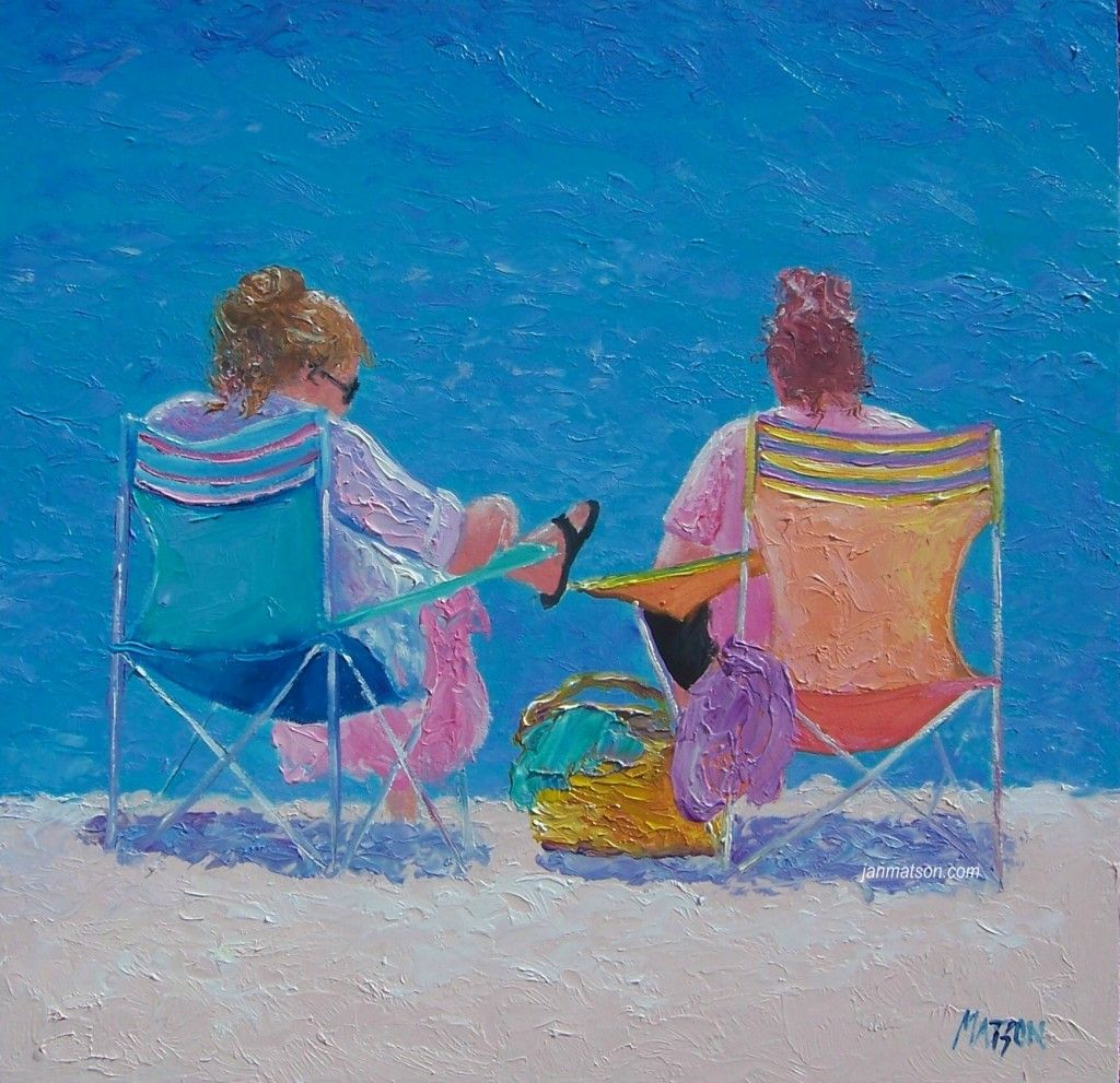 Beach chairs on the beach painting - Beach Painting Of Two Women On Beach Chairs Basking In The Sun
